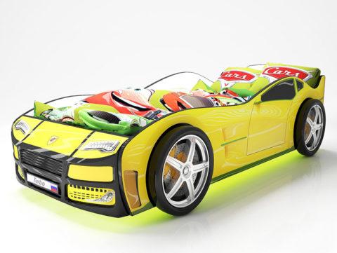Турбо Желтая - кровать-машинка. Серия Турбо производитель КарлСон 24