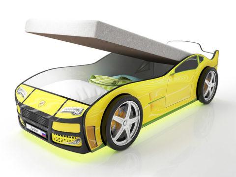 Турбо желтая с подъемным матрасом - кровать-машинка. Серия Турбо с подъемным механизмом производитель КарлСон 24